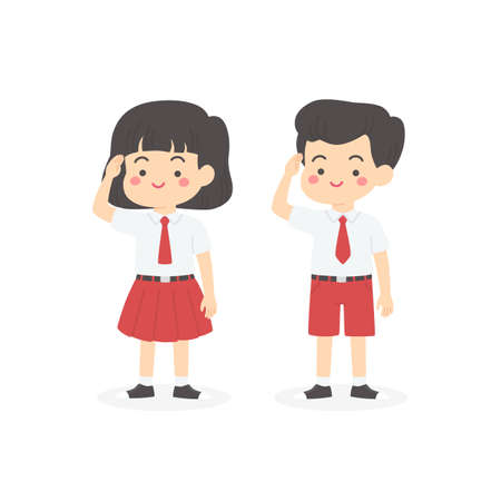 Indonesian Elementary School Uniform Kids Salute Cartoon Vector