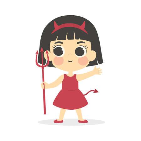 Halloween Cute Red Devil Girl Costume Vector