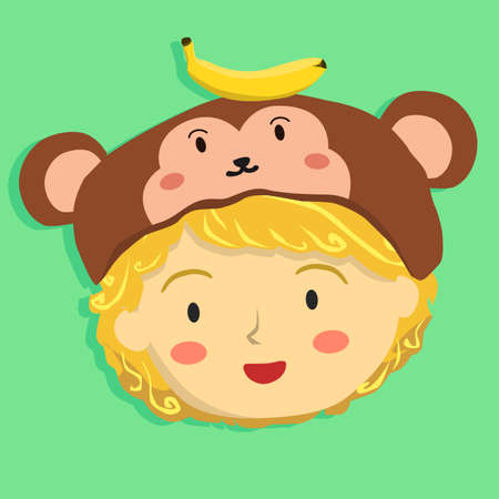 Face of a curly girl with monkey hat on green background.