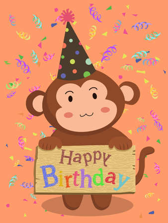 monkey with cone hat holding birthday greeting card board in red confetti background