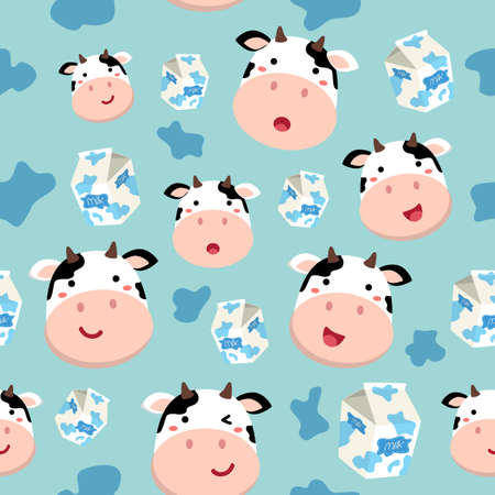 Seamless Pattern Cow and Plain Milk Carton on Spotted Blue Background