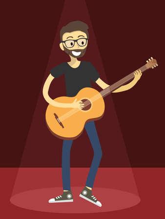 Man Play Acoustic Guitar on Red Spotlight Çizim