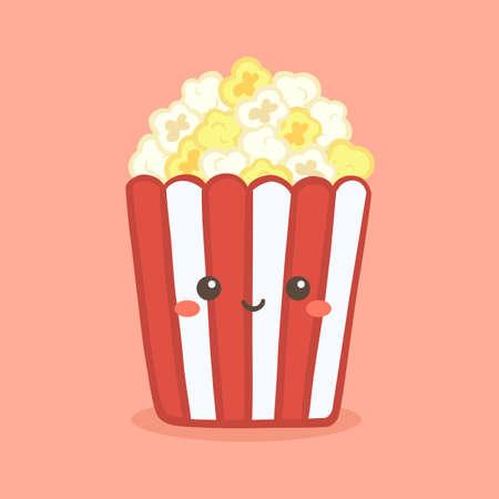 Cute Pop Corn Popcorn in Red Bucket Box Cinema Snack Vector Illustration Cartoon Character Icon