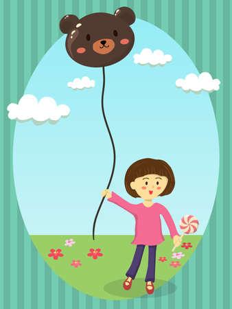 Girl Holding Bear Balloon Vector Cartoon