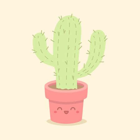 Cute Cactus Succulent Cartoon Vector 向量圖像