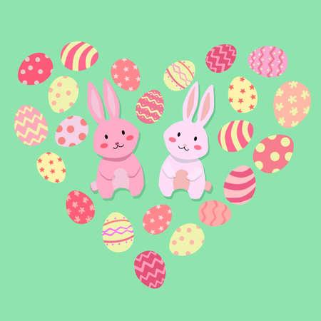 Easter Rabbit and Egg Valentine Heart Shape Vector