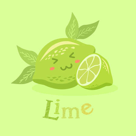 Vector illustration of cute lime fruit mascot in green background.