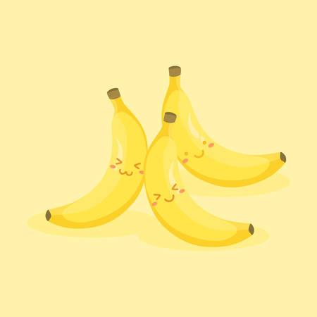 Cute Banana Fruit Cartoon Vector Çizim