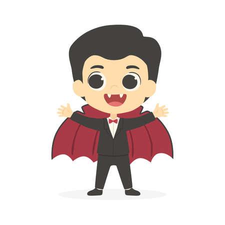 Mignon Dracula Vampire Garçon Halloween Costume Dessin Animé Illustration Vectorielle