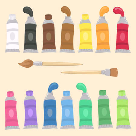 Vector illustration of Paint Tubes Set and Brush Art and School Supplies