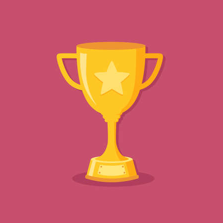 Golden Gold Trophy Cup Winner Champions Flat Design Vector Illustration isolated on pink background Çizim
