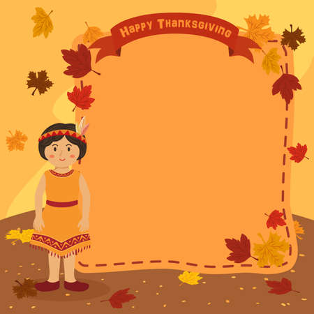 Thanksgiving Indian Girl Notes Background Vector