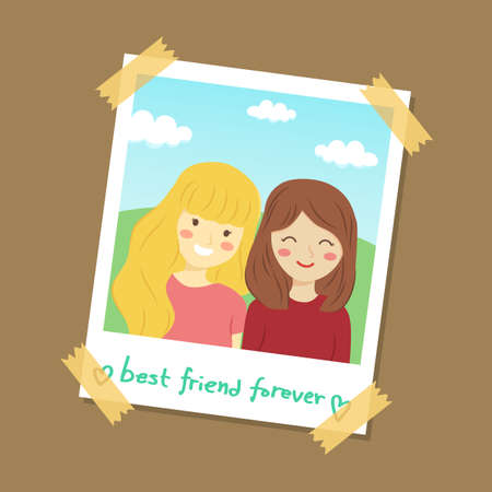 Instant Photo Best Friend Vector