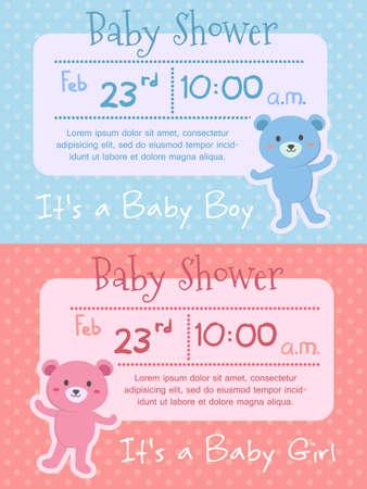 Baby Shower Bear Pink Blue Invitation Card