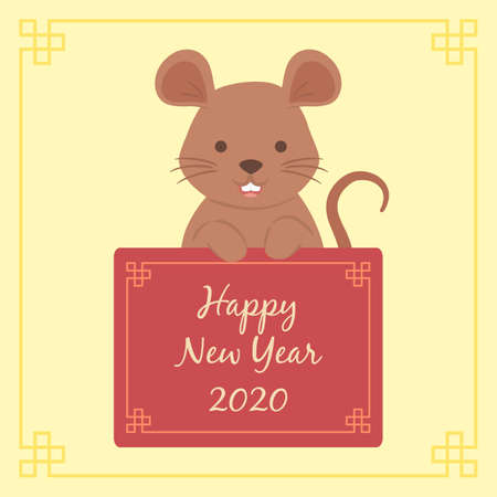 Chinese New Year 2020 Cute Rat Mouse Zodiac Character Vector Illustration Cartoon Greeting Card