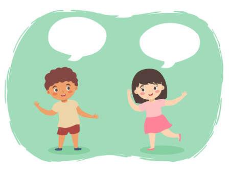 Boy Girl Talking vector cartoon