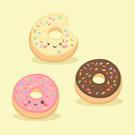 Cute Donuts Doughnut Vector Illustration Cartoon