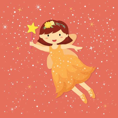 Cute Little Fairy wear Orange Dress Vector