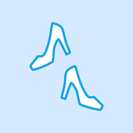High Heels Shoes Vector Icon Simple Blue