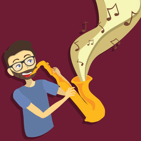 Man Playing Saxophone Vector Cartoon Stock Illustratie