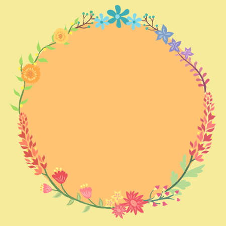 Colorful Flower Wreath Circle Frame Vector