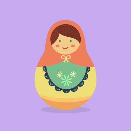 Russian Doll Matryoshka Orange Cartoon Vector Çizim