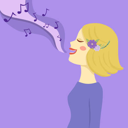 Blonde Woman Sing a Song Vector