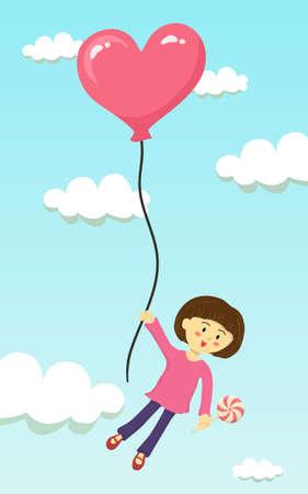 cute little girl is flying with heart shape balloon in the sky 向量圖像