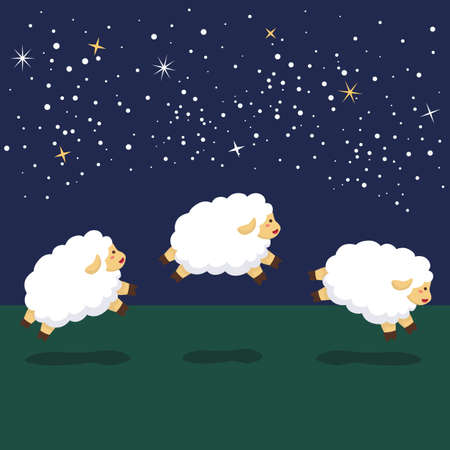 Vector illustration of sheeps jumping line up in sequence on the night background.