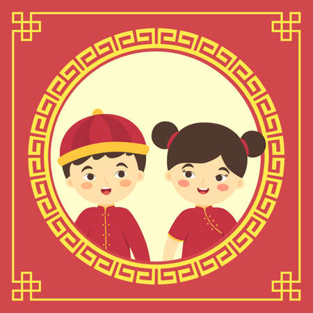 Vector illustration of Chinese new year greeting card with child in cheongsam costume isolated on border ornament red gold background
