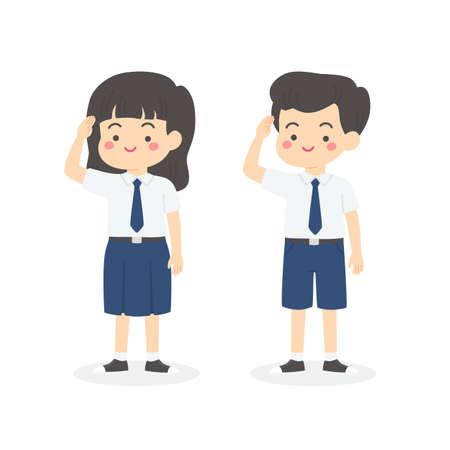 Indonesian Junior High School Uniform Kids Salute Cartoon Vector