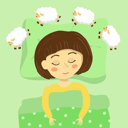 Little cute girl sleeping in the bed, and imagine about counting sheep vector illustration cartoon