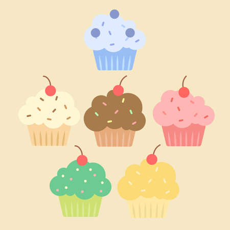 Colorful cupcakes set with different topping isolated on beige background vector illustration.