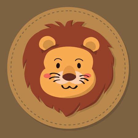 Cute lion head cartoon on brown background vector illustration 向量圖像
