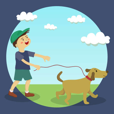 cute little boy doing dog-walking on sunny day in garden