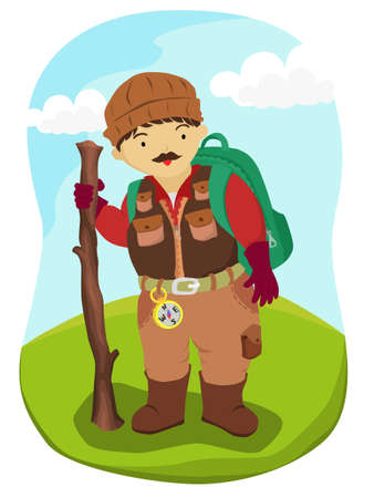 Man hiking the mountain vector illustration. Mountaineer travel bring backpack and compass.