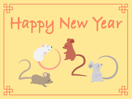 Chinese New Year 2020 Cute Rat Mouse Character Vector Illustration Cartoon Greeting Card