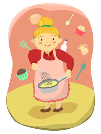 Mama is cooking and mixing dough with a whisk vector illustration. 向量圖像