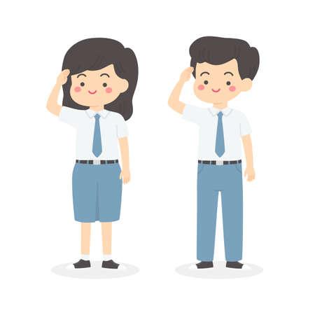 Indonesian Senior High School Uniform Kids Salute Cartoon Vector  イラスト・ベクター素材