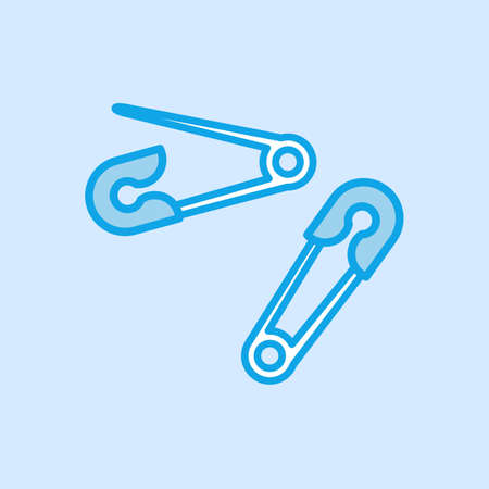 Safety Pin Brooch Vector Icon Simple Blue