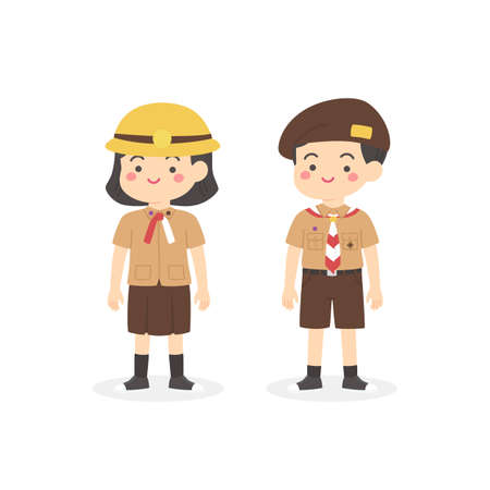 Indonesian Pramuka Scout Elementary School Uniform Kids Cartoon Vector