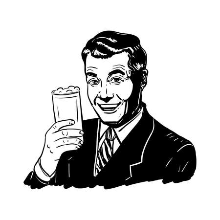 Retro man with a glass of beer in hand, vector illustration. Çizim