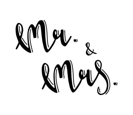 wedding couple: Mr and Mrs sign. Hand drawn lettering vector illustration. For wedding or event design card, invitation, decor.