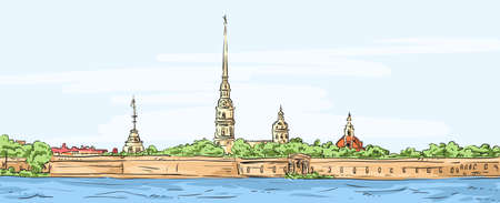 Peter and Paul Fortress. Symbol of Saint Petersburg, Russia. Hand drawn colorful vector illustration.