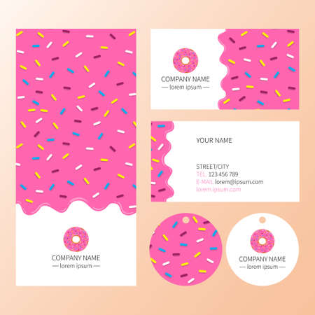 Sweet corporate identity template design set . Pink donut glaze business card.