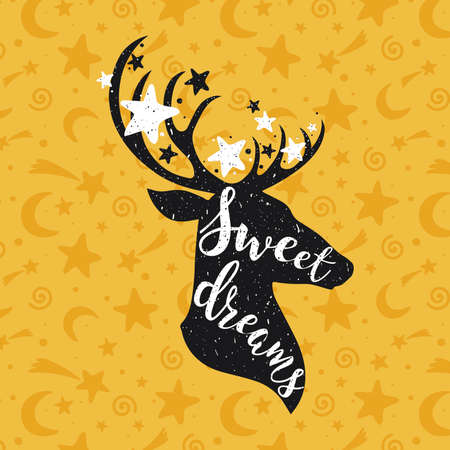 Sweet dreams yellow concept with a deer and stars. Hand drawn lettering quote vector illustration. For card design, sticker, posters, prints Apparel, t-shirt, bag 向量圖像