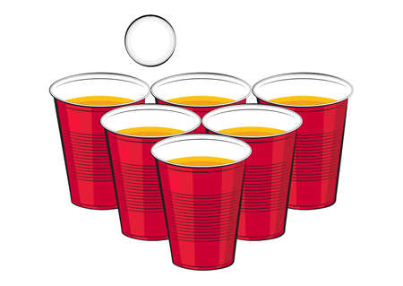 Vector red plastic cups of beer and ping pong ball on a white background.