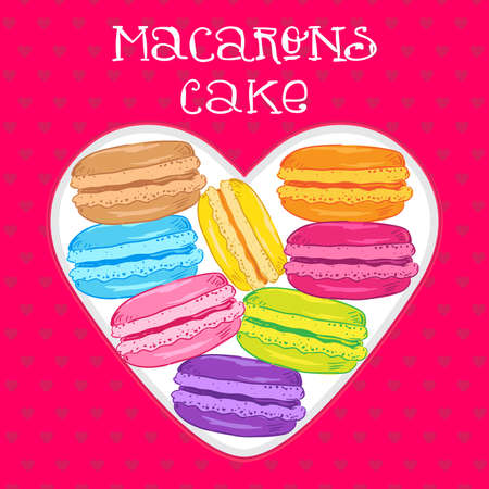 box in the shape of a heart with colorful macaroons cake