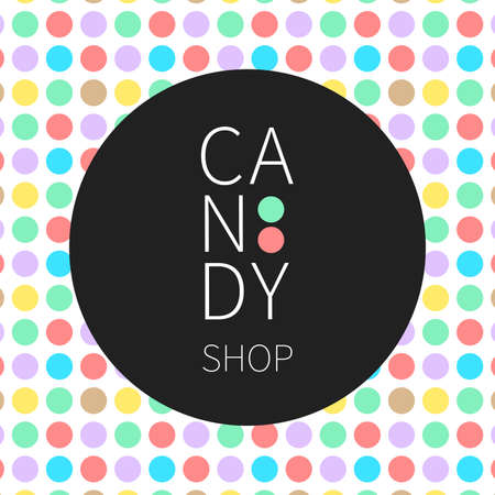Vector flat logo and seamless pattern for candy shop and sweet store. Illustration can be used as corporate identity, logo or icon for shop, room, boutique.