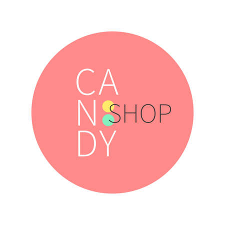 Vector flat logo for candy shop and sweet store. Illustration can be used as corporate identity; logo or icon for shop; room; boutique.